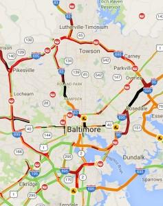 Traffic map during christmas season
