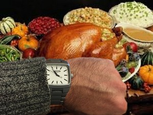 Looking at watch thanksgiving dinner